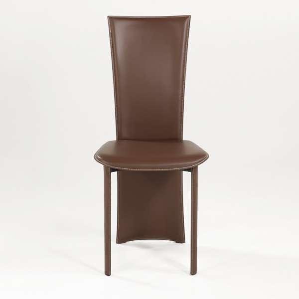 Chaise contemporaine en croûte de cuir - Wally - 2
