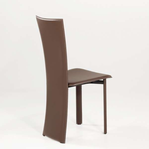 Chaise moderne marron en croûte de cuir - Wally - 4