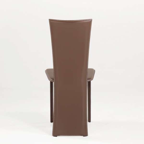 Chaise marron en croûte de cuir - Wally - 5