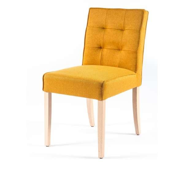 Chaise matelassée en tissu jaune et bois - Carpe - 4