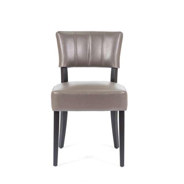 Chaise de salle à manger en vinyle et bois - Steffi 2