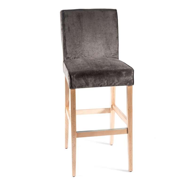 Tabouret bar en tissu et bois barcarpe 4 pieds tables chaises et tabou - Tabouret bar aubergine ...