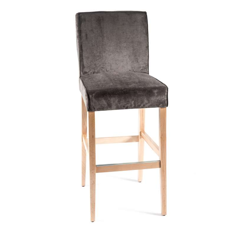 Tabouret de bar en tissu et bois barcarpe 4 pieds tables chaises et ta - Tabouret de bar bois et tissu ...