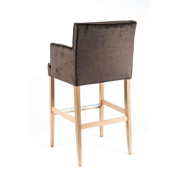 Tabouret bar contemporain en tissu marron et bois - BarDiem - 3