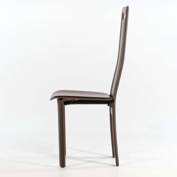 Chaise de salle à manger en croûte de cuir - Betty - 4