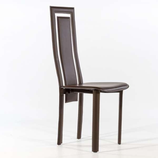 Chaise de salle à manger en croûte de cuir - Betty