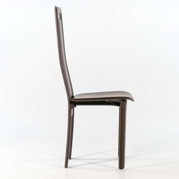 Chaise de salle à manger en croûte de cuir - Betty 5 - 7