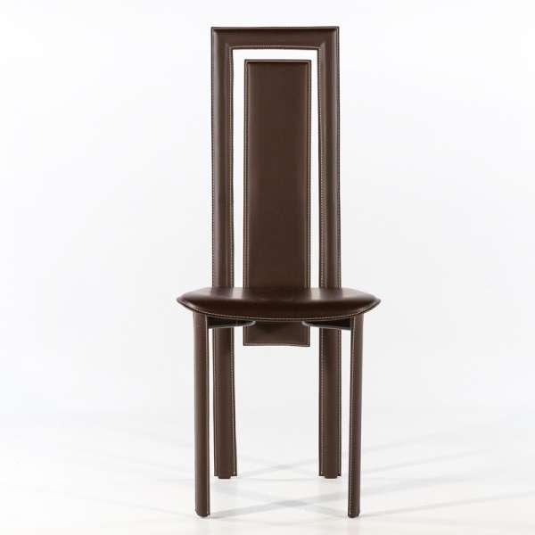 Chaise de salle à manger en croûte de cuir - Betty 7 - 3