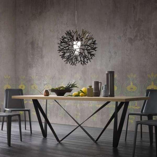 Table de salle à manger design en métal et bois - Wave - 2