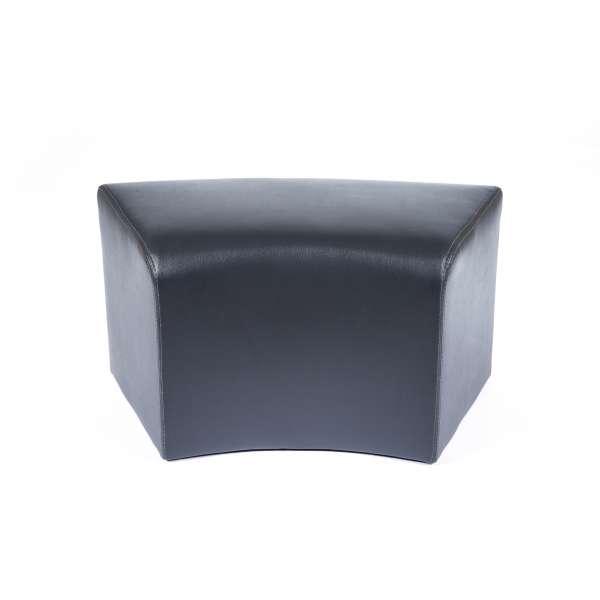 Pouf rectangulaire courbé noir en vinyl - Max C1-8 - 16