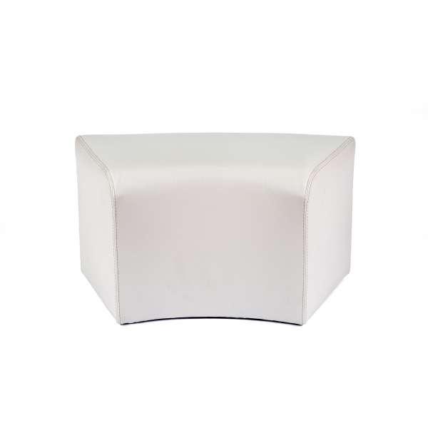Pouf rectangulaire courbé blanc en vinyl - Max C1-8 - 18