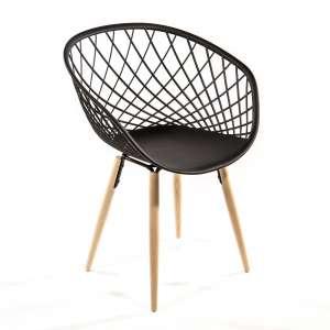 Chaise design en polypropylène noir et bois naturel - Sidera