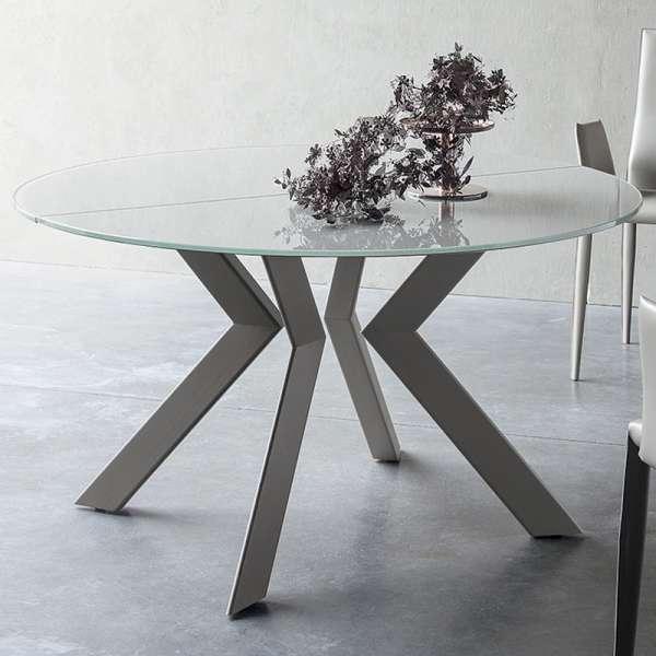 Table ronde extensible verre et métal - Vale - 2