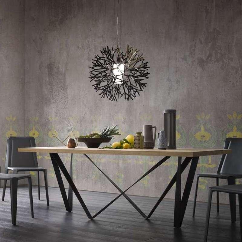 Table design extensible en m tal et bois wave 4 pieds for Table en bois brut design