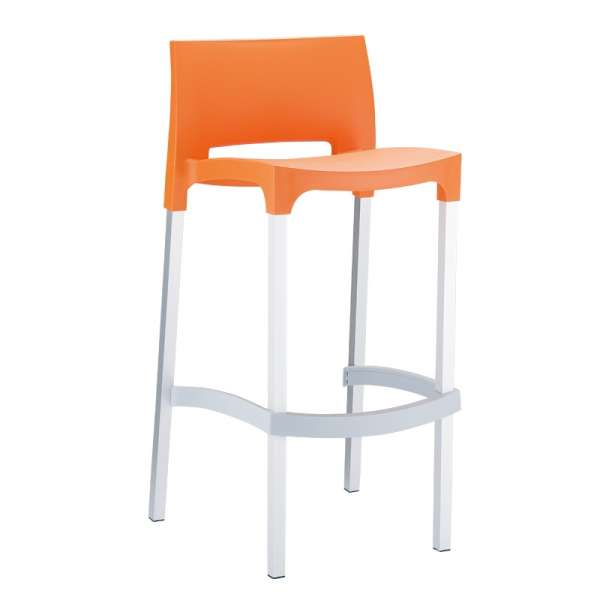 Tabouret de bar en aluminium et polypropylène orange empilable - Gio - 8