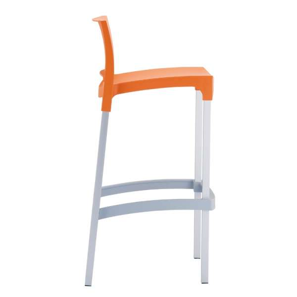 Tabouret de bar en aluminium et polypropylène orange - Gio - 9
