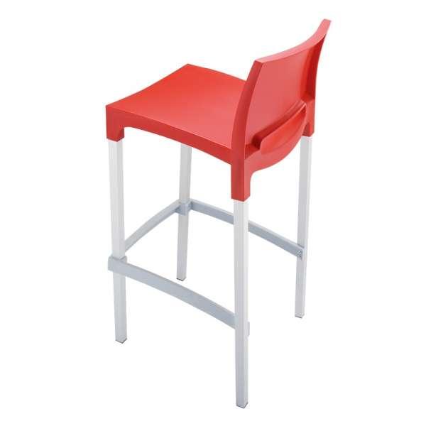 Tabouret de bar en aluminium et polypropylène rouge - Gio - 12