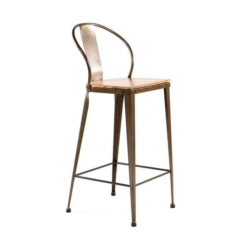 Tabouret industriel en métal et bois TB 317 4 Pieds tables, chaises et tabourets # Tabouret Bois Metal Industriel