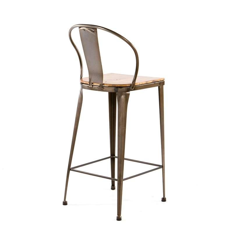Tabouret Metal Et Bois - Tabouret industriel en métal et bois TB 317 4 Pieds tables, chaises et tabourets