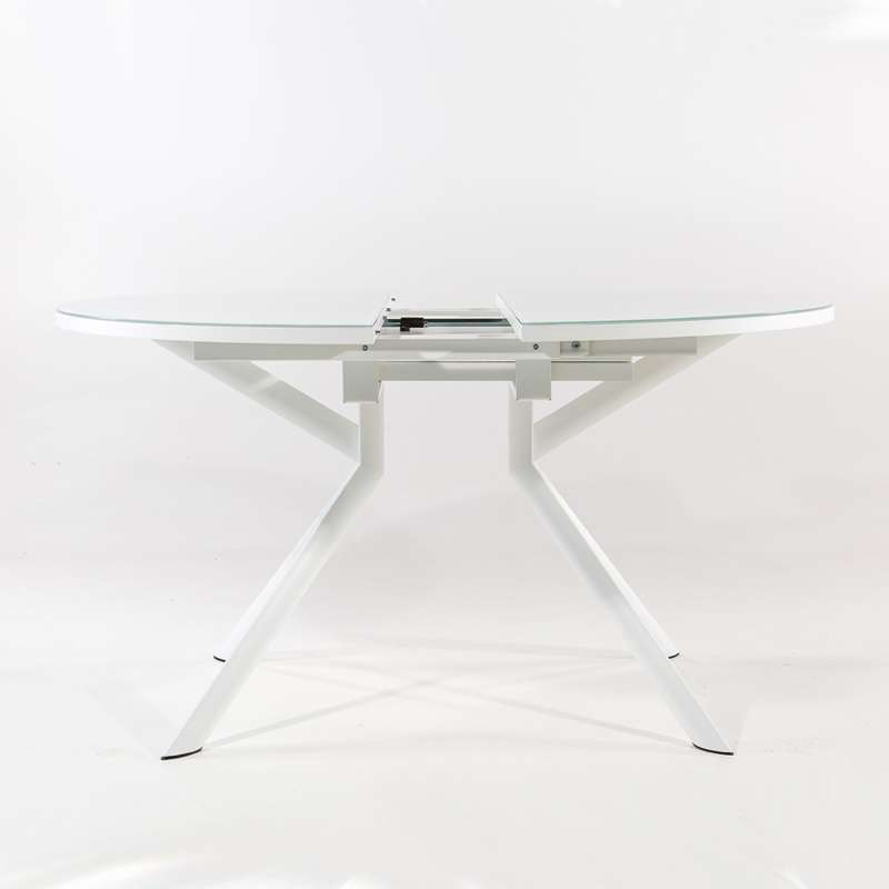 Table ronde extensible en verre giove 4 pieds tables for Table ronde en verre avec rallonge