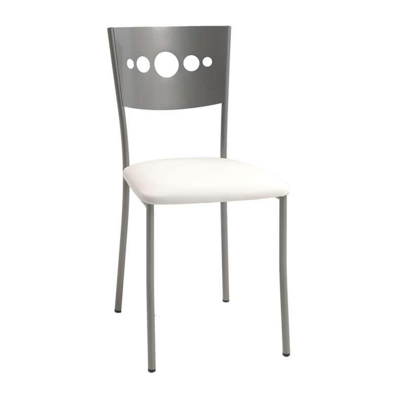 Chaise de cuisine en m tal et vinyle bilo 4 pieds for 4 pieds 4 chaises rouen