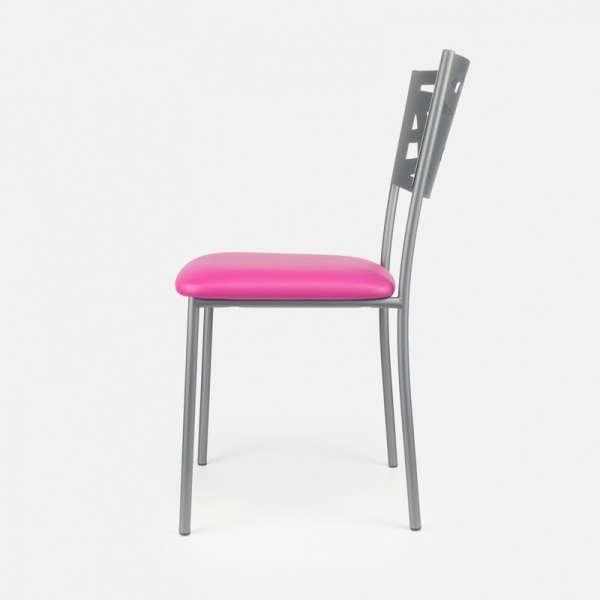 Chaise contemporaine en métal et vinyle - Claudie 4 - 4