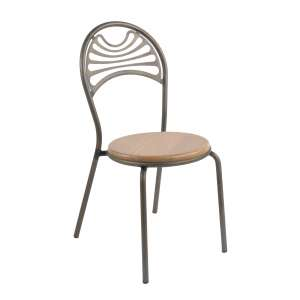 Chaise style industriel en métal fumé assise bois - Cabaret
