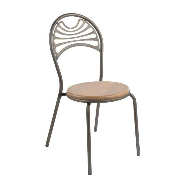 Chaise style industriel en métal fumé assise bois - Cabaret - 1