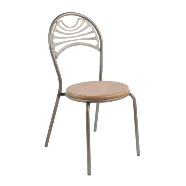 Chaise style industriel en métal mat assise bois - Cabaret - 4