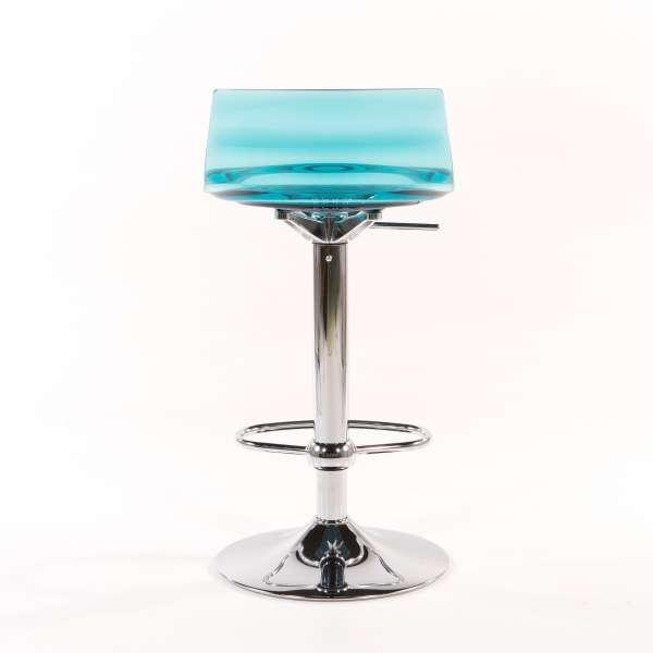 Tabouret réglable design en technopolymère vert transparent et métal - 1477 2 - 4