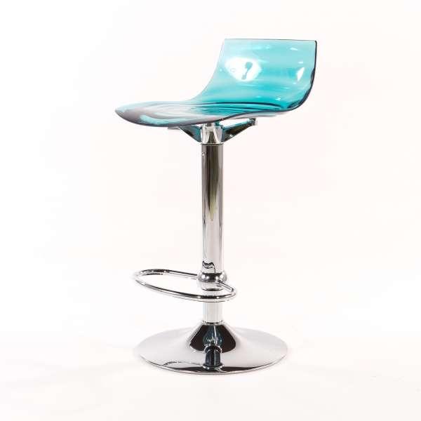 Tabouret réglable design en technopolymère vert transparent et métal - 1477 6 - 2