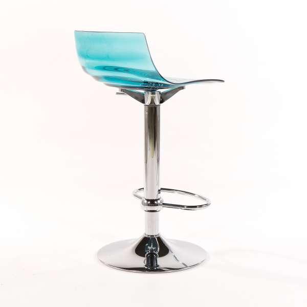 Tabouret réglable design en technopolymère vert transparent et métal - 1477 7 - 7