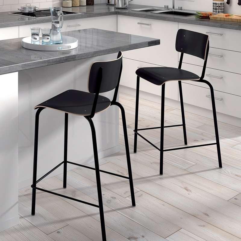 Tabouret snack vintage en bois et m tal coll ge 4 pieds tables chaises et tabourets - Tabouret de bar retro ...