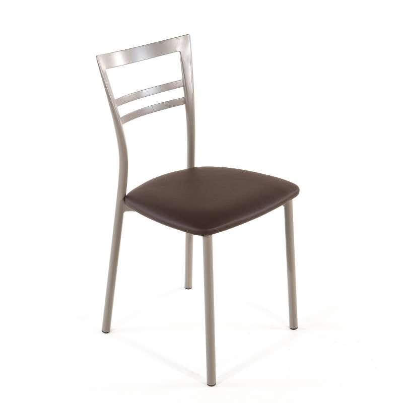 Chaise de cuisine rembourr e en vinyle et m tal go 1419 4 pieds tables - Chaise de cuisine pivotante ...