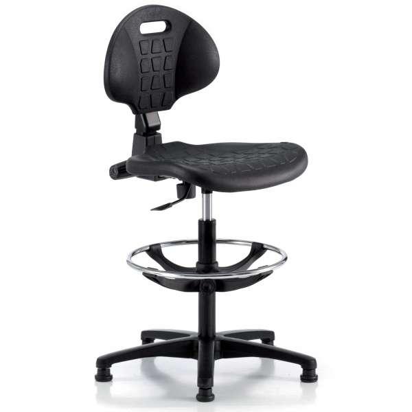 Chaise d'atelier en polyuréthane sur patins avec repose-pieds - Tecnik