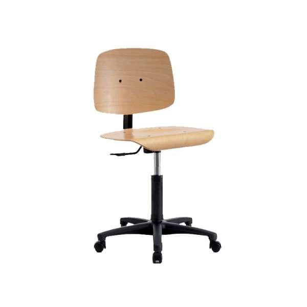 Chaise dactylo en bois sur roulettes - Tecnik
