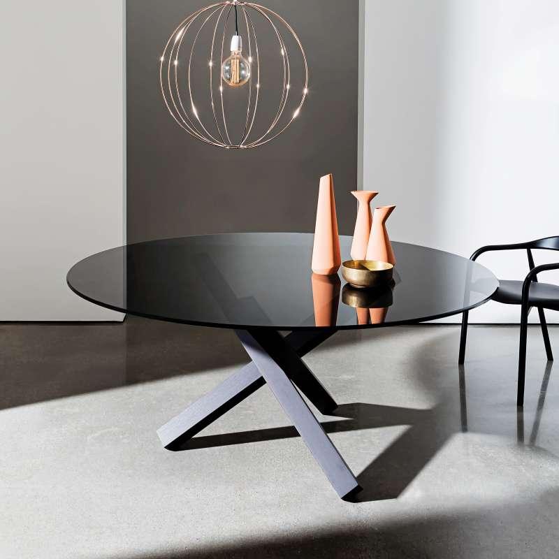 table en verre design ronde aikido sovet 4 pieds. Black Bedroom Furniture Sets. Home Design Ideas