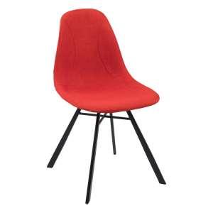 Chaise coque en tissu orange et métal - Tulipe