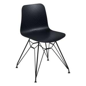 Chaise design en polypropylène noir et métal - Céleste