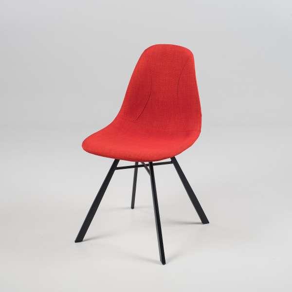 Chaise coque en tissu orange et métal - Tulipe 2 - 6
