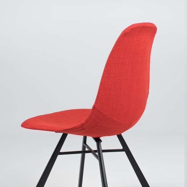 Chaise coque en tissu orange et métal - Tulipe 7 - 11