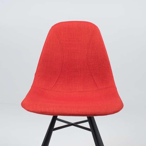 Chaise coque en tissu orange et métal - Tulipe 3 - 7