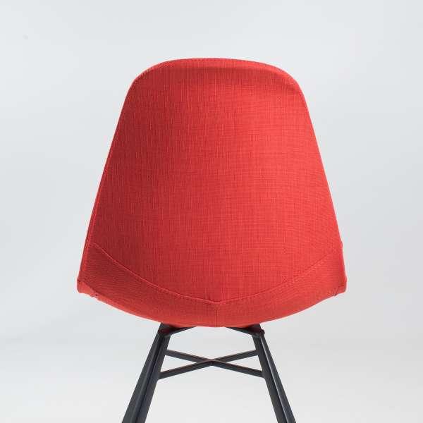 Chaise coque en tissu orange et métal - Tulipe 4 - 8