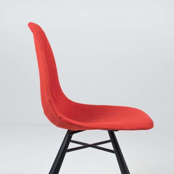 Chaise coque en tissu orange et métal - Tulipe 6 - 10