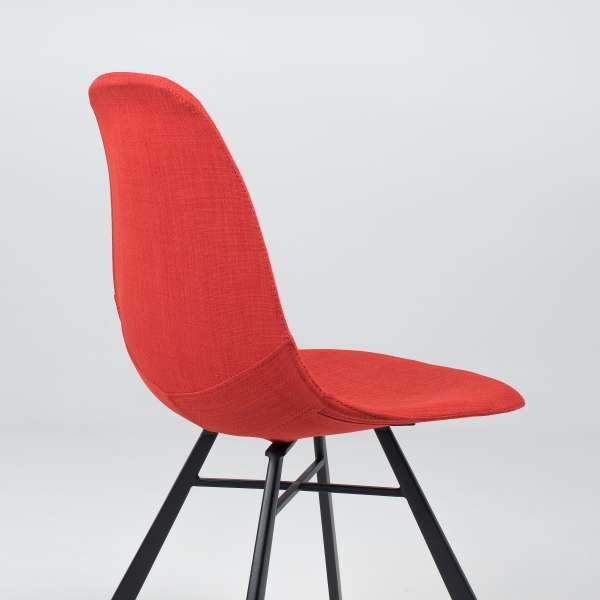 Chaise coque en tissu orange et métal - Tulipe 8 - 12