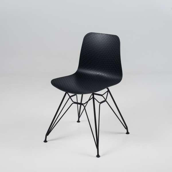Chaise design en polypropylène noir et métal - Céleste 2 - 11