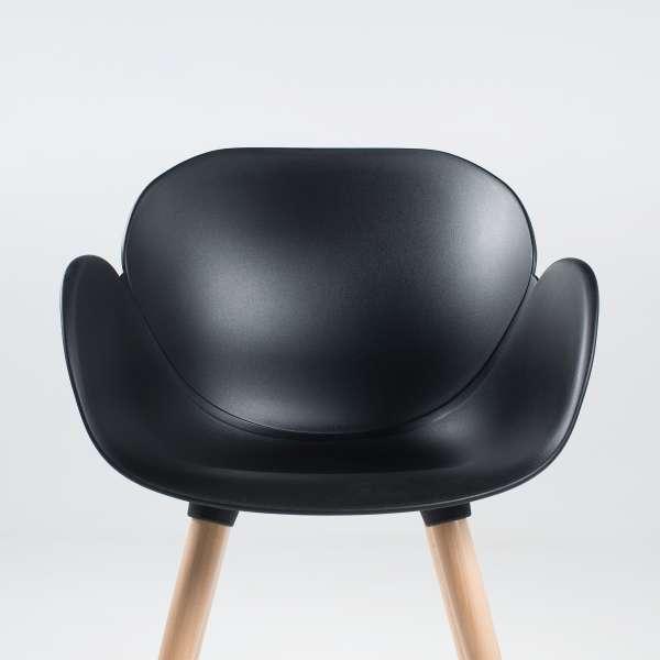 Fauteuil design en polypropylène noir et bois - Victoire 2 - 2