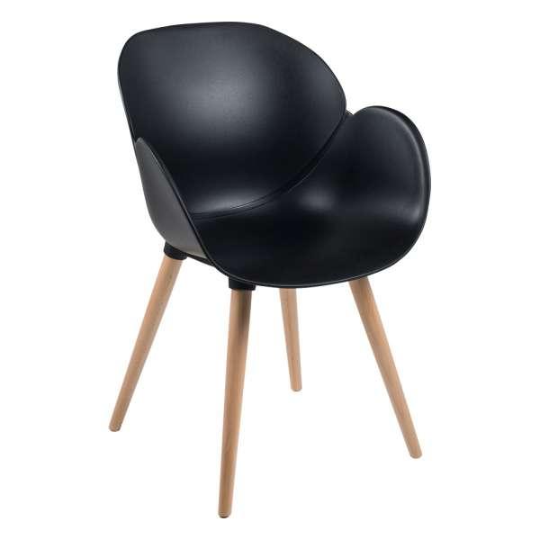 Fauteuil design en polypropylène noir et bois - Victoire - 1