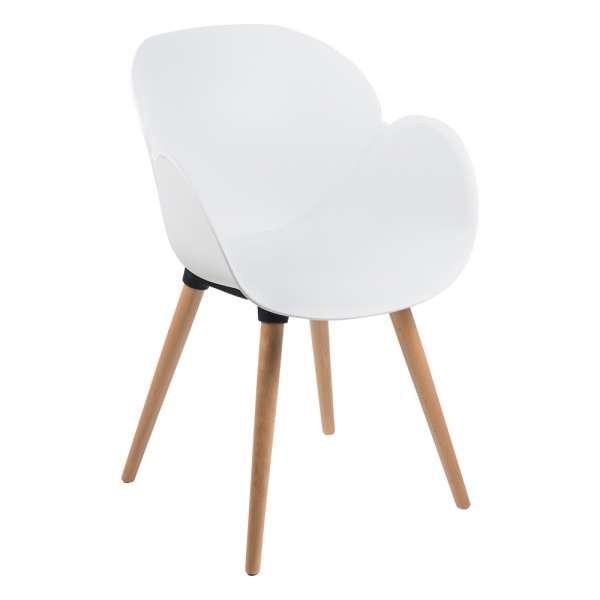 Fauteuil design en polypropylène blanc et bois - Victoire - 10