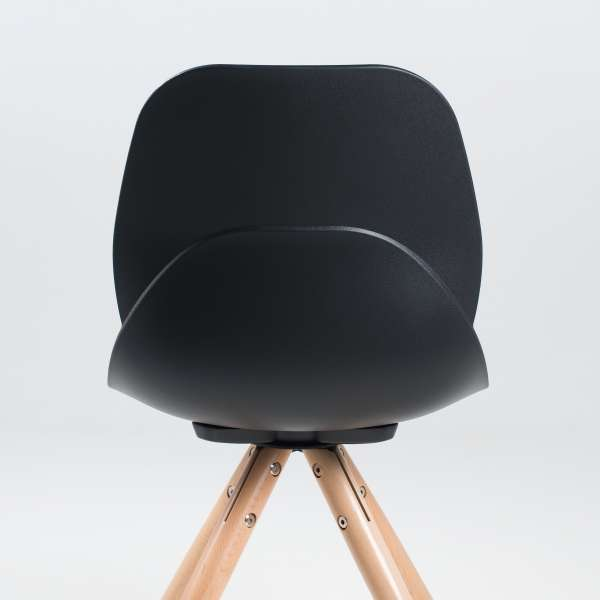 Chaise design en polypropylène noir et bois - Victoire 4 - 4